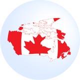Bandera y mapa canadienses Fotografía de archivo libre de regalías