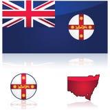 Bandera y mapa de Nuevo Gales del Sur stock de ilustración