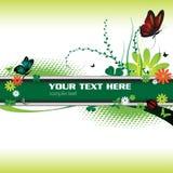 Bandera y mariposas verdes stock de ilustración