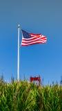 Bandera y puente Golden Gate de los E.E.U.U. Foto de archivo