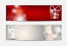 Bandera y tarjeta del sitio web de los copos de nieve de la Navidad Fotos de archivo