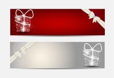 Bandera y tarjeta del sitio web de los copos de nieve de la Navidad Fotos de archivo libres de regalías