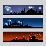 Banderas árabes fijadas con la mezquita ilustración del vector