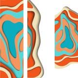 Banderas abstractas coloridas con formas del corte del papel libre illustration
