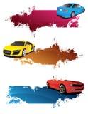 Banderas abstractas con los coches Imagen de archivo libre de regalías
