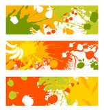 Banderas abstractas de la fruta y verdura Foto de archivo libre de regalías