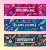 Banderas abstractas de la Navidad con formas geométricas multicoloras stock de ilustración
