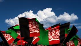 Banderas afganas que agitan stock de ilustración