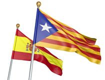 Banderas aisladas de Cataluña y de España que vuelan junto para la unidad y las negociaciones diplomáticas, representación 3D Imagen de archivo libre de regalías