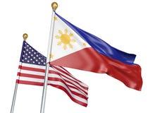 Banderas aisladas de Filipinas y de Estados Unidos que vuelan junto para las negociaciones diplomáticas y las relaciones comercia Imagenes de archivo