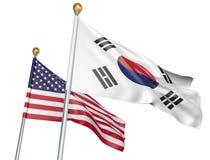 Banderas aisladas de la Corea del Sur y de Estados Unidos que vuelan junto para las negociaciones diplomáticas y las relaciones c Foto de archivo libre de regalías