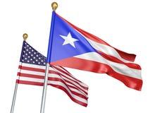 Banderas aisladas de Puerto Rico y de Estados Unidos que vuelan junto para la unidad y la ayuda Foto de archivo libre de regalías