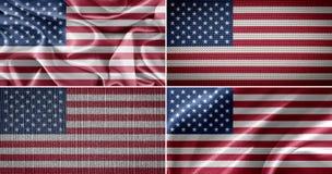 Banderas americanas de la tela Fotos de archivo libres de regalías