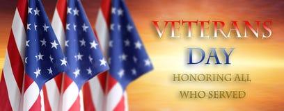 Banderas americanas del día de veteranos imagen de archivo libre de regalías