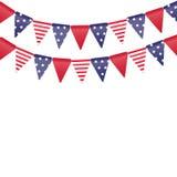 Banderas americanas en la cuerda Foto de archivo libre de regalías