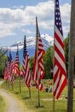 Banderas americanas a lo largo del lado del camino Fotos de archivo libres de regalías