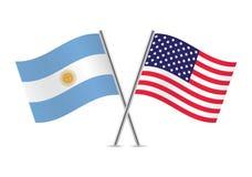 Banderas argentinas y americanas Ilustración del vector Fotos de archivo