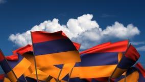 Banderas armenias que agitan ilustración del vector