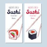 Banderas asiáticas de la comida Mano dibujada, sushi del vector stock de ilustración
