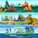 Banderas asiáticas del viaje stock de ilustración