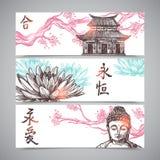 Banderas asiáticas fijadas Imágenes de archivo libres de regalías