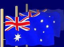 Banderas australianas Fotografía de archivo libre de regalías