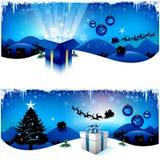 Banderas azules de la Navidad Foto de archivo libre de regalías