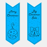 Banderas azules de la Navidad en estilo retro Foto de archivo libre de regalías