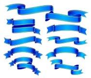 Banderas azules fijadas Imagen de archivo libre de regalías
