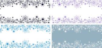 2 banderas azules horizontales brillantes con los copos de nieve y las estrellas para un invierno o un diseño de la Navidad ilustración del vector