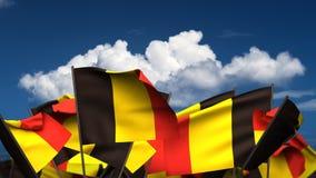 Banderas belgas que agitan stock de ilustración