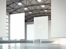 Banderas blancas en blanco en área del hangar representación 3d foto de archivo