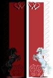 Banderas blancos y negros del caballo de la parte posterior de la tarjeta del día de San Valentín del St Imagenes de archivo
