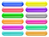 Banderas brillantes de los botones para el Web site Fotos de archivo