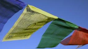 Banderas budistas del rezo contra la ejecución clara del cielo azul a lo largo de caminar las trayectorias en Nepal El emigrar en almacen de metraje de vídeo