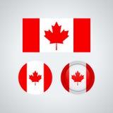 Banderas canadienses del trío, ejemplo ilustración del vector