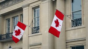 Banderas canadienses en Front Of Building almacen de video