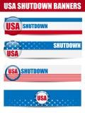 Banderas cerradas de los E.E.U.U. del cierre del gobierno. Imagen de archivo
