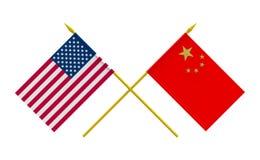 Banderas, China y los E.E.U.U. Fotografía de archivo libre de regalías