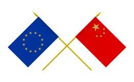 Banderas, China y unión europea Imagen de archivo