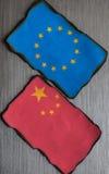 Banderas chinas y europeas Fotografía de archivo libre de regalías