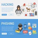 Banderas cibernéticas del crimen stock de ilustración