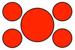 Banderas circulares rojas, frontera negra y fondo blanco Uso para el propósito del ejemplo, fondo, página web, negocios, foto de archivo