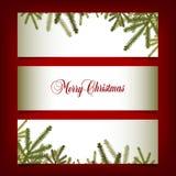 Banderas clásicas de la Navidad con las agujas del pino libre illustration