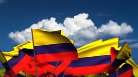 Banderas colombianas que agitan stock de ilustración