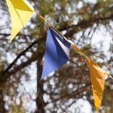Banderas coloreadas en el otoño de la naturaleza Imágenes de archivo libres de regalías