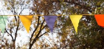 Banderas coloreadas en el otoño de la naturaleza Fotos de archivo