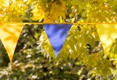 Banderas coloreadas en el otoño de la naturaleza Fotografía de archivo