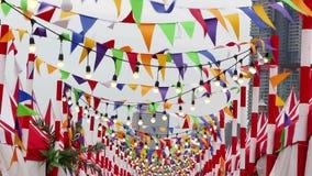 Banderas coloreadas triangulares y oscilación de la bombilla en el viento Está para la decoración en una celebración de la alegrí almacen de metraje de vídeo