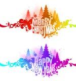Banderas coloridas adornadas de la Navidad Imagen de archivo